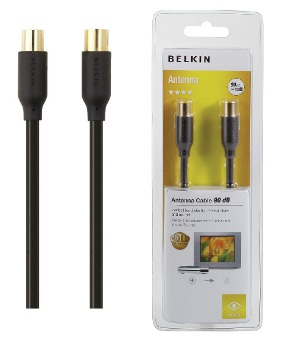 BELKIN 90dB anténní  koax kabel Gold (M/F), 5 m