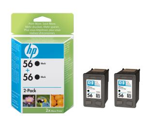 HP 56 - černá ink. kazeta, 2pack,C9502AE