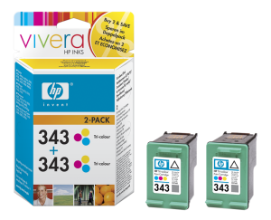 HP no. 343 - 3 barevná ink. kazeta, 2-pack,CB332EE