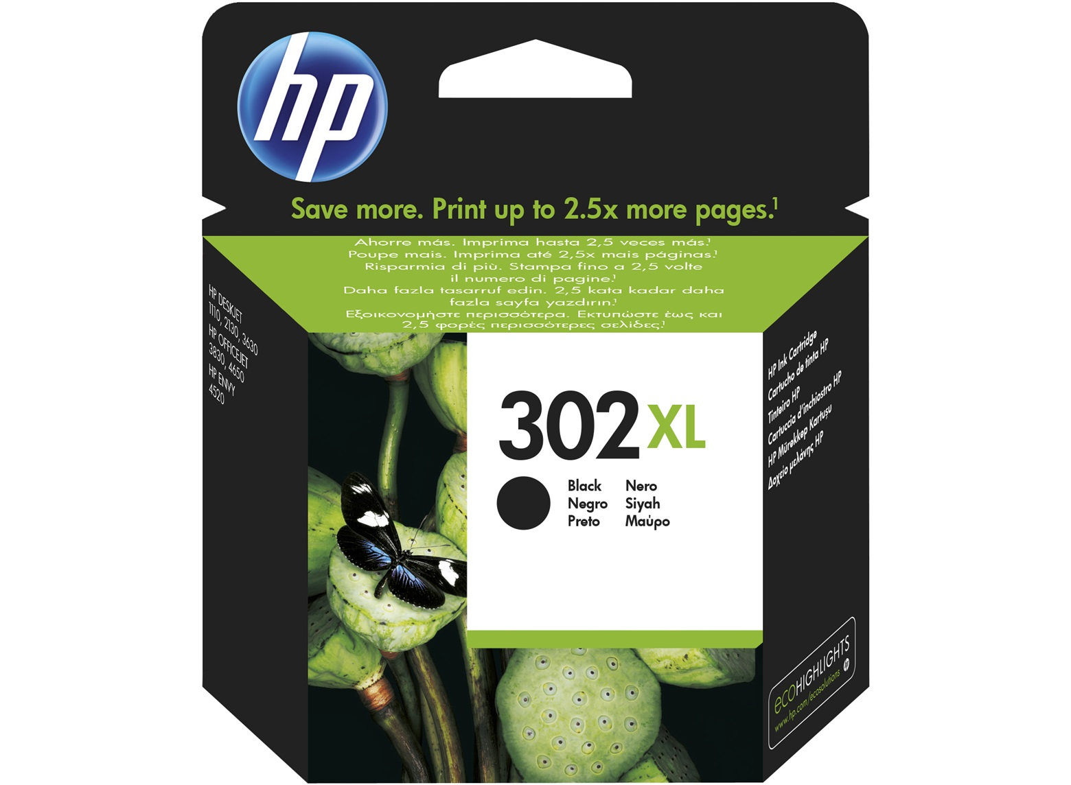 HP 302XL černá kazeta, F6U68AE