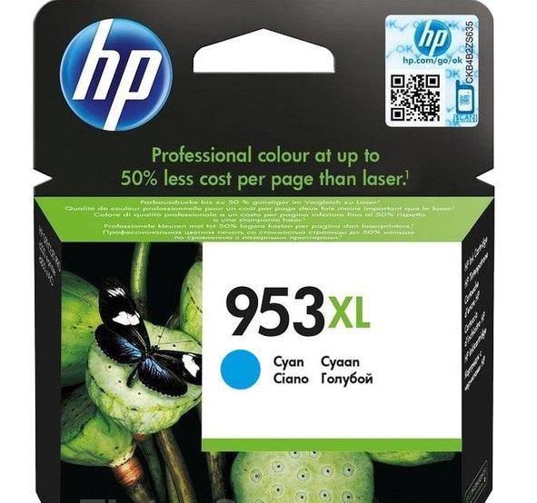 HP 953XL azurová inkoustová kazeta, F6U16AE