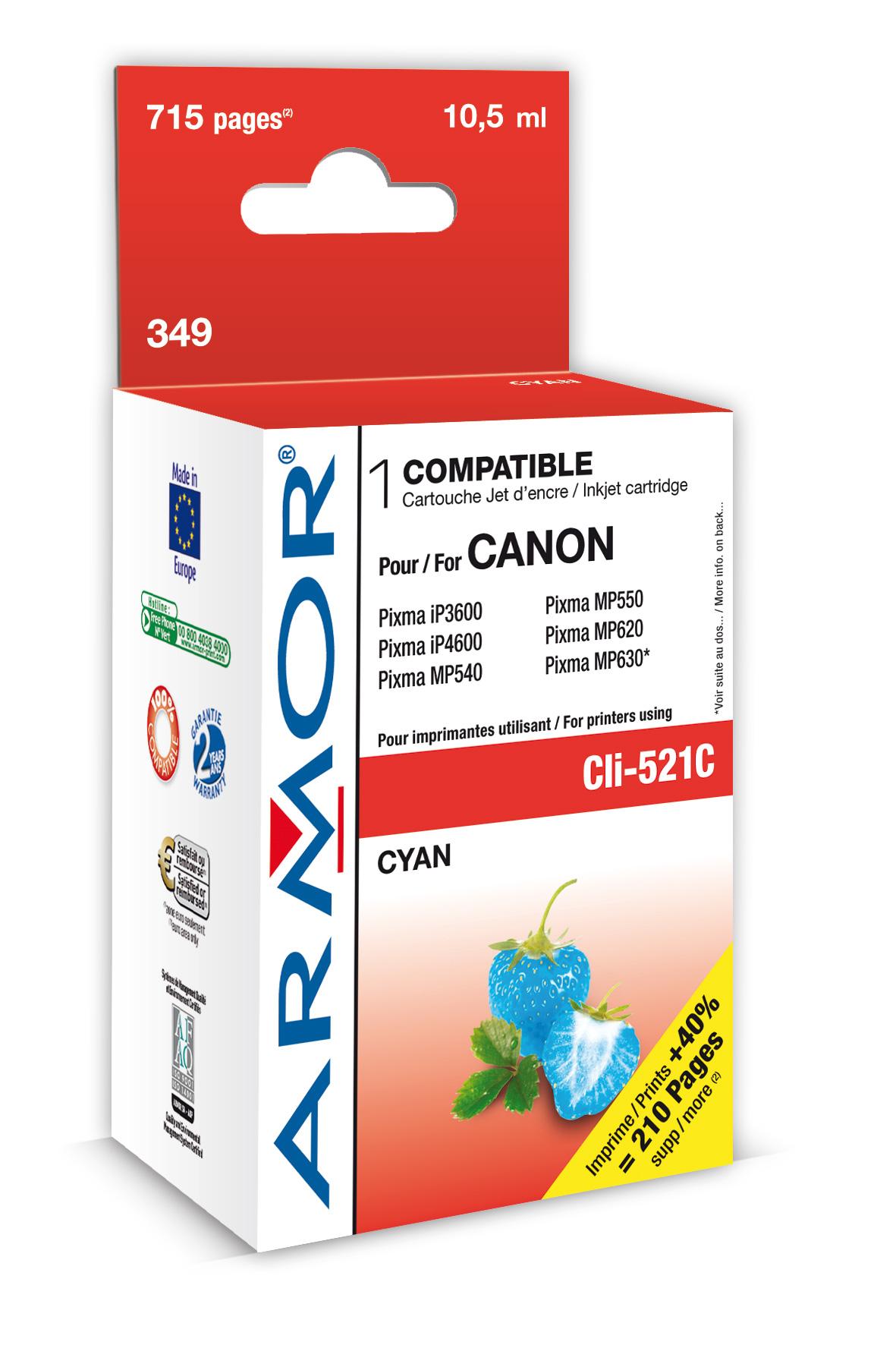Armor ink-jet pro Canon iP4600, (CLI521-C), čip