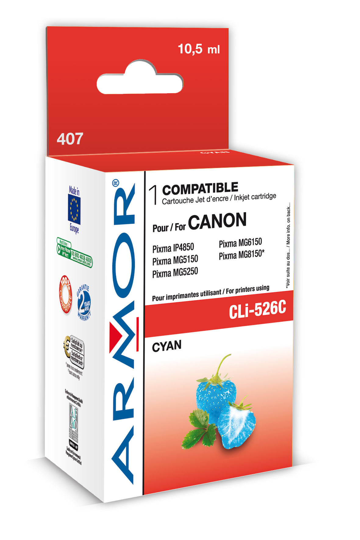 Armor ink-jet pro Canon CLi-526, 10,5ml, cyan