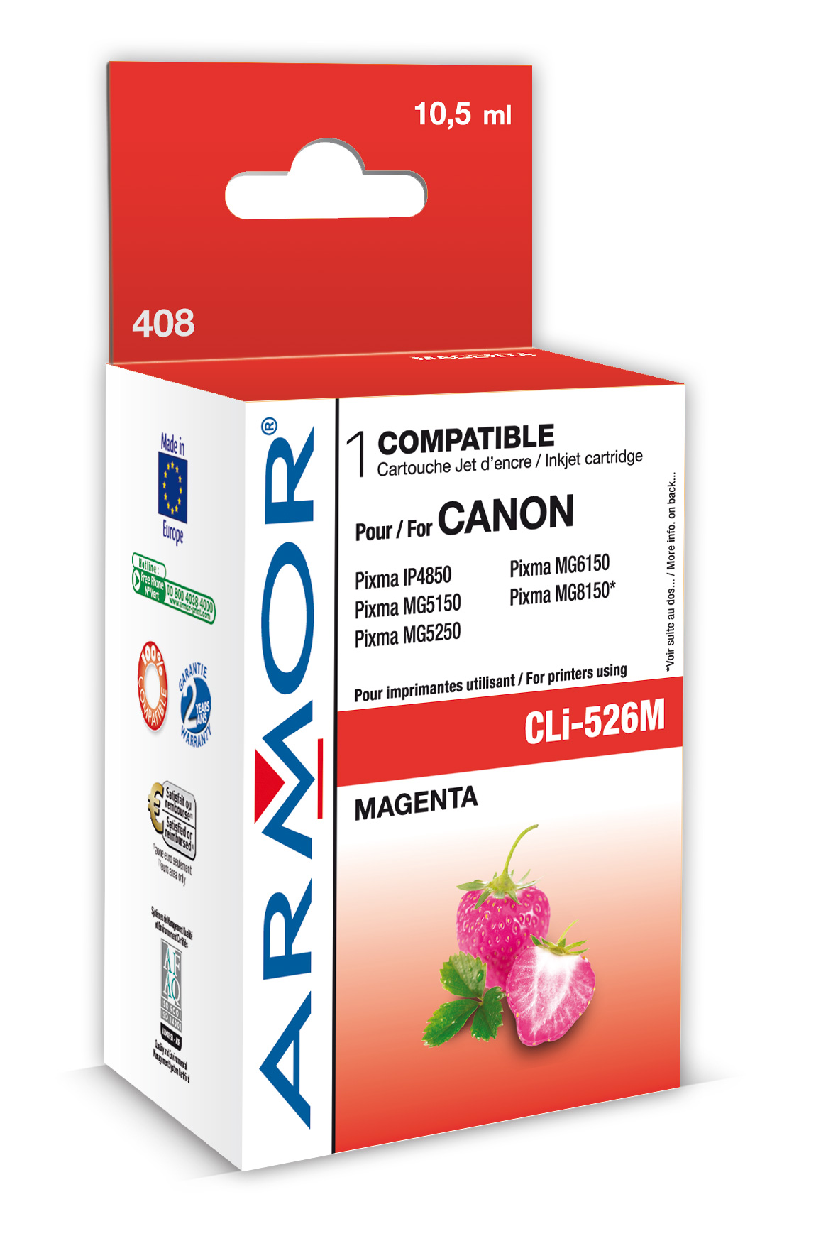 Armor ink-jet pro Canon CLi-526, 10,5ml, magenta - obr.1