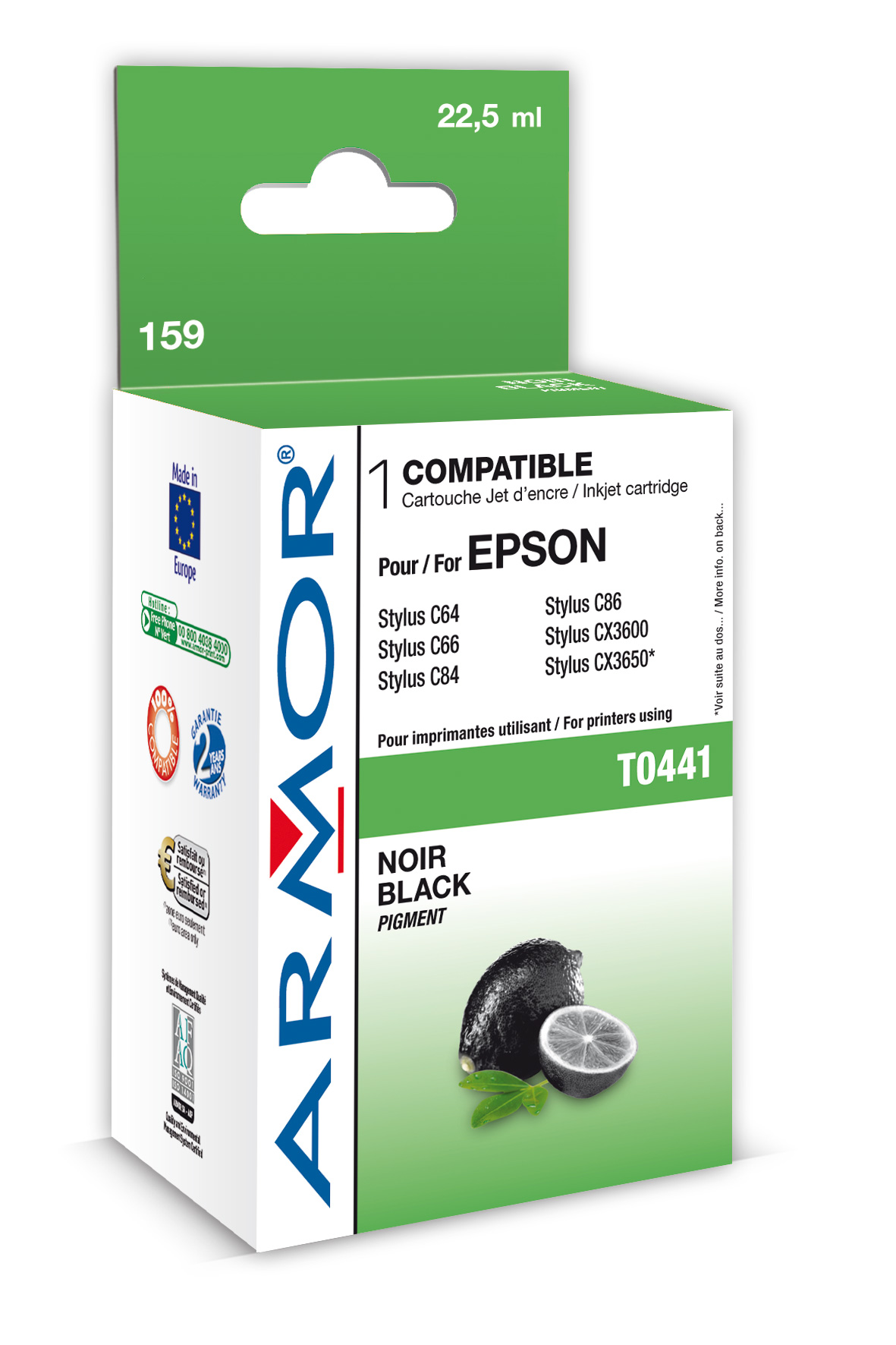 Armor ink-jet pro Epson C64/84 (T044140), 22ml, Bk