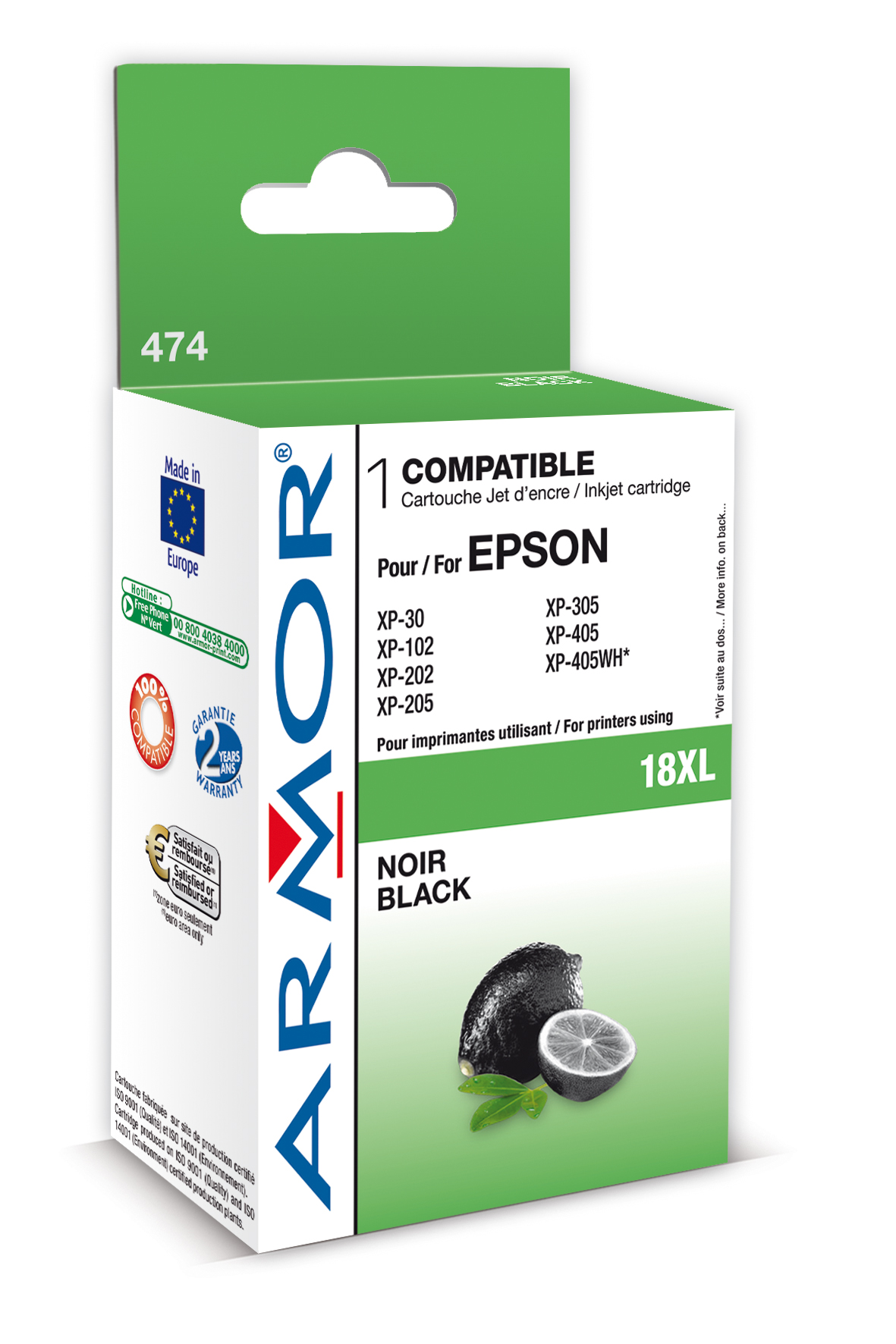 Armor ink-jet pro Epson XP205, XP30 (T181140) Bk