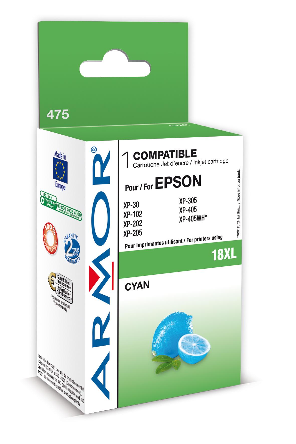 Armor ink-jet pro Epson XP205, XP30 (T181240) C