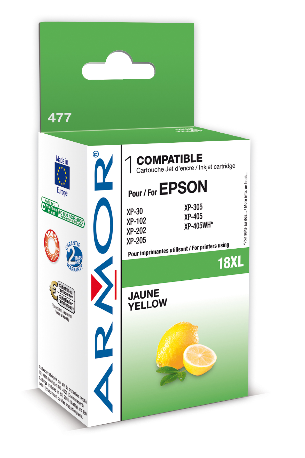 Armor ink-jet pro Epson XP205, XP30 (T181440) Y