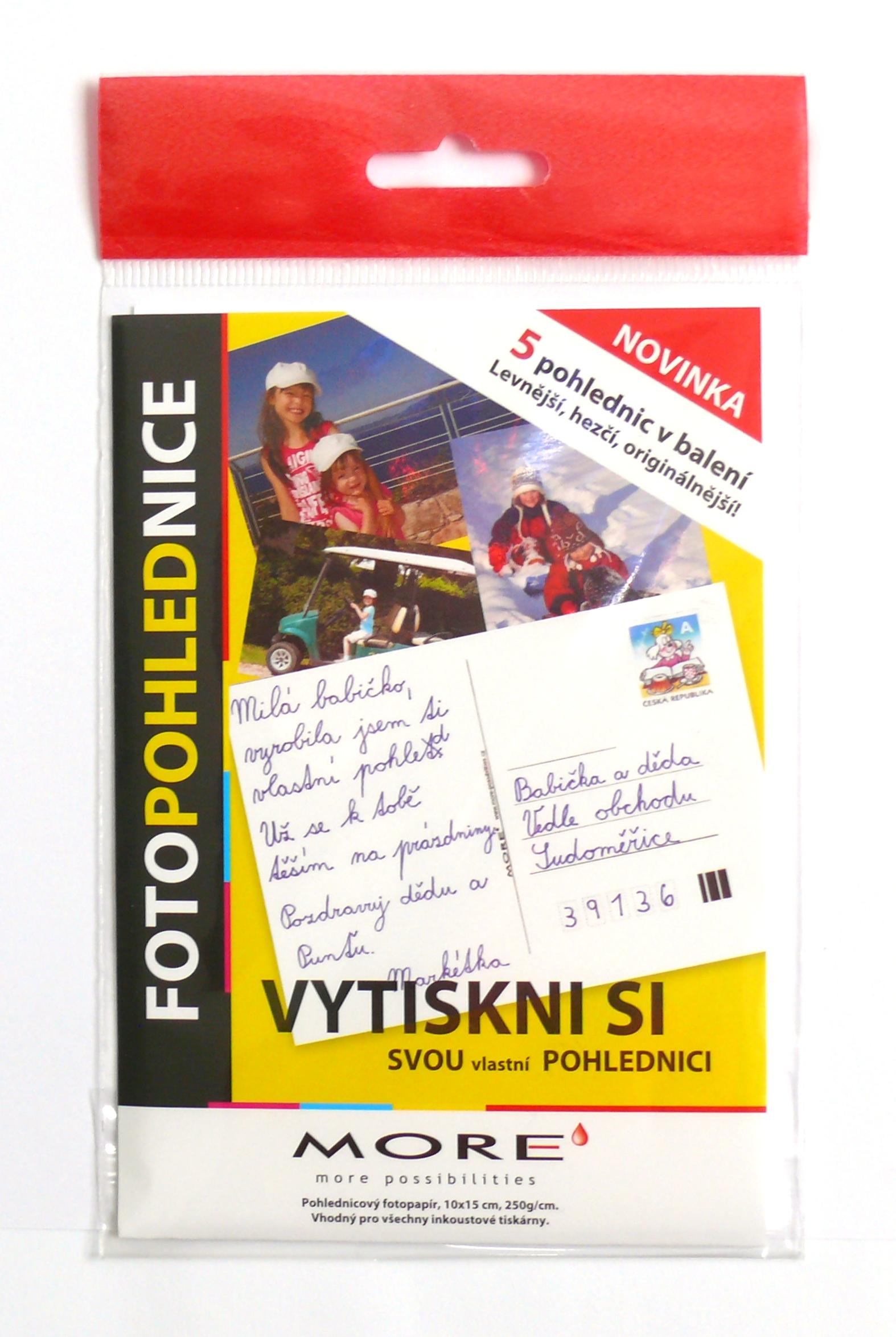 Fotopohlednice 250g/m2, 10x15 cm, glossy, 5ks/bal - M10562