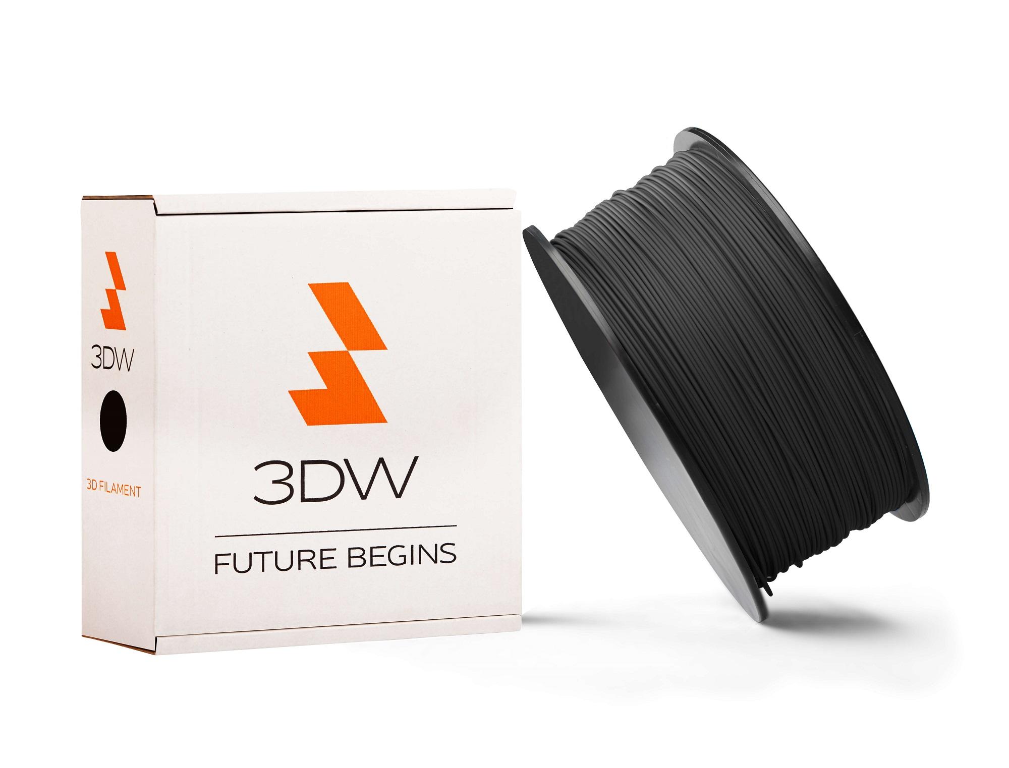 3DW - PLA filament 1,75mm černá, 0,5kg, tisk 190-210°C