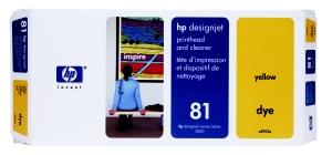 HP no 81 - žlutá a čistící tisk. hlava, C4953A