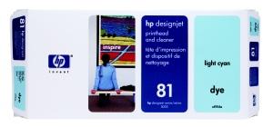 HP no 81 - sv. modrá a čistící tisk. hlava, C4954A