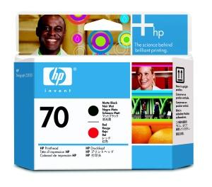 HP no 70 černá a červená tisková hlava, C9409A