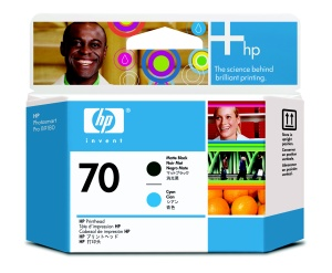 HP no 70 černá a azurová tisková hlava, C9404A