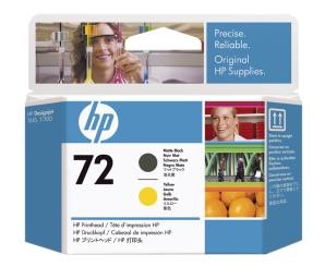 HP no 72 - matná černá a žlutá tisk. hlava, C9384A - C9384A