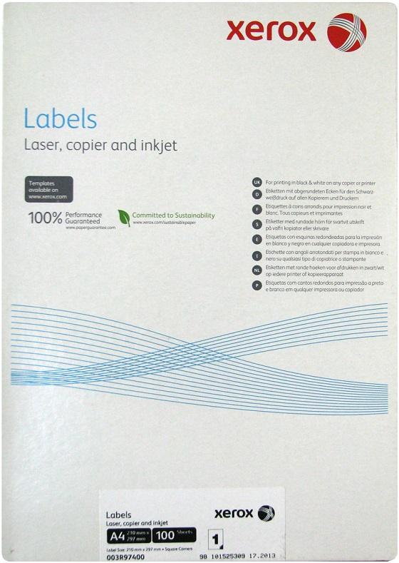 XEROX samolepici štítky A4 100 listu - 003R97400