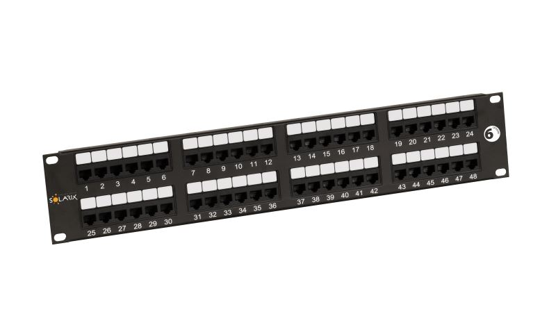 19'' Patch panel Solarix 48 x RJ45 CAT6 UTP černý