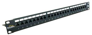 19'' Patch panel Solarix 24 x RJ45 CAT6 UTP černý