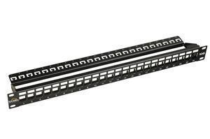19'' Neosazený 10G panel Solarix 24portů pro CAT6A - SX24M-0-STP-BK