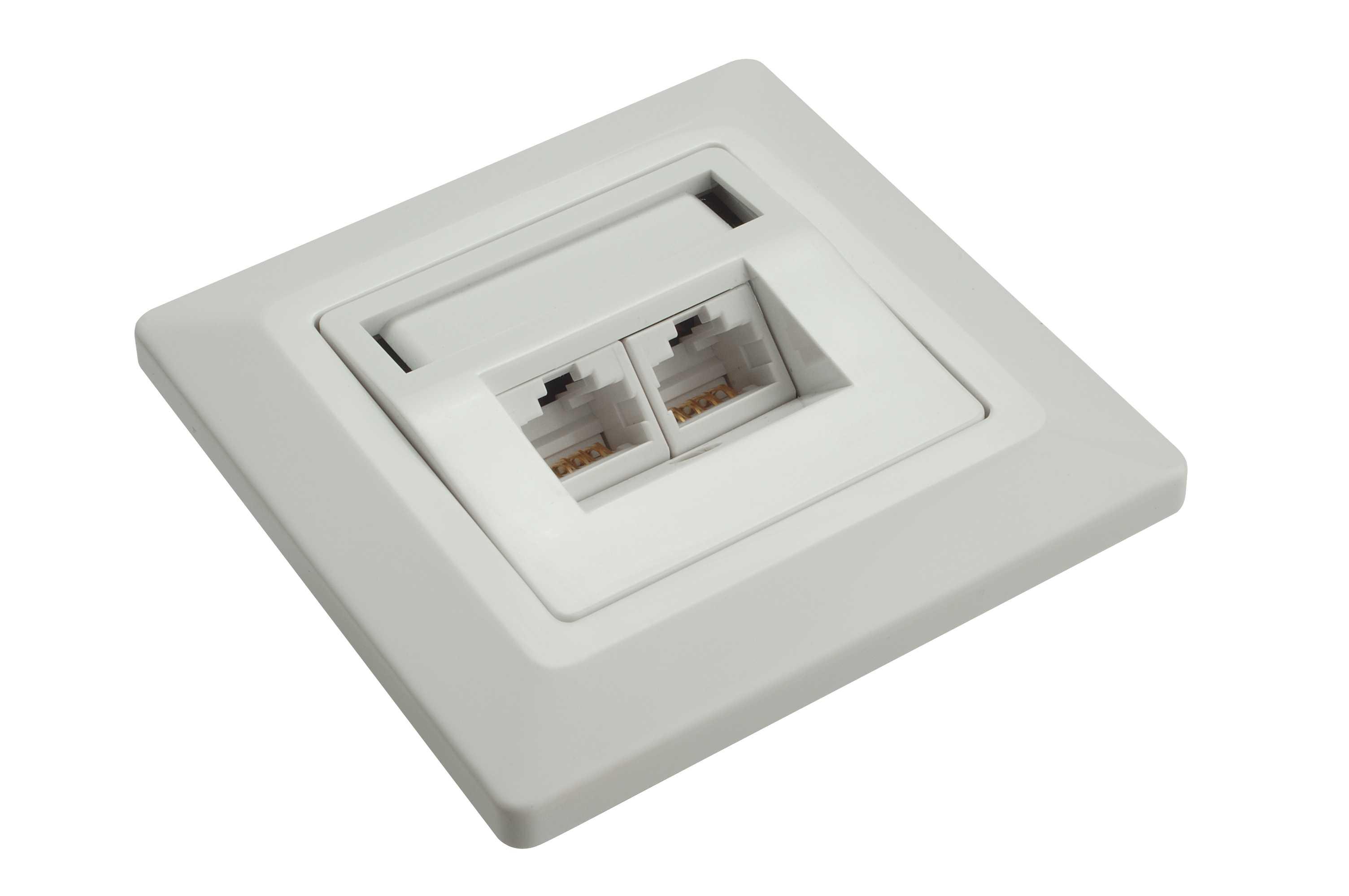 Zásuvka Solarix CAT5E UTP 2 x RJ45 pod omítku bílá - SX9-2-5E-UTP-WH