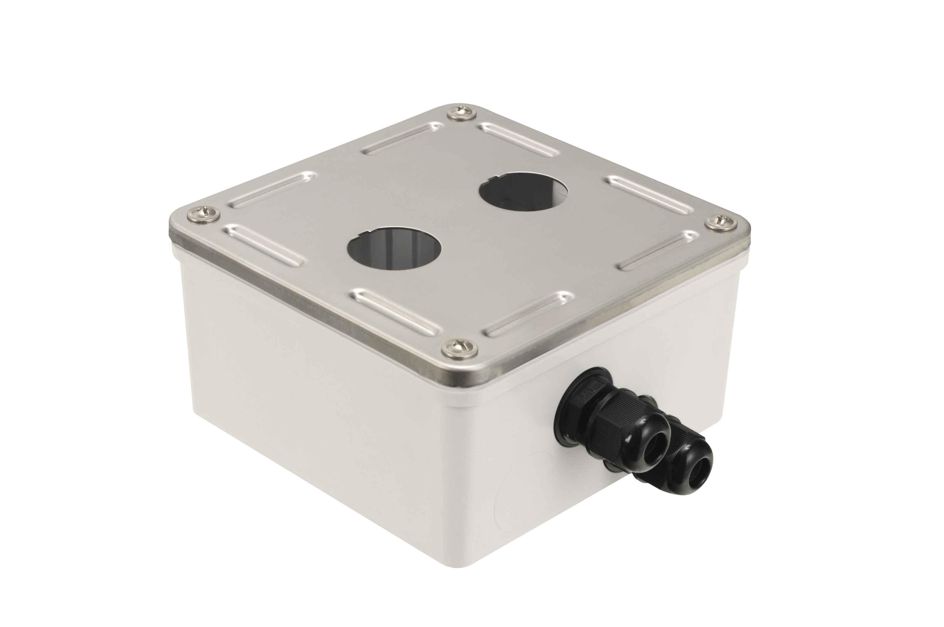 Průmyslový box Solarix s nerez čelem pro 2 x IP67