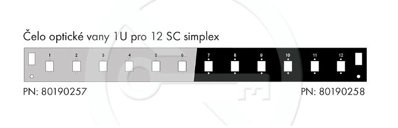 Čelo optické vany 1U pro 12 SC simplex BK - FP2-1U-12SCS-B