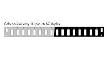 Čelo optické vany 1U pro 16 SC duplex BK s montážními otvory v2 FP2-1U-16SCD-B - FP2-1U-16SCD-B