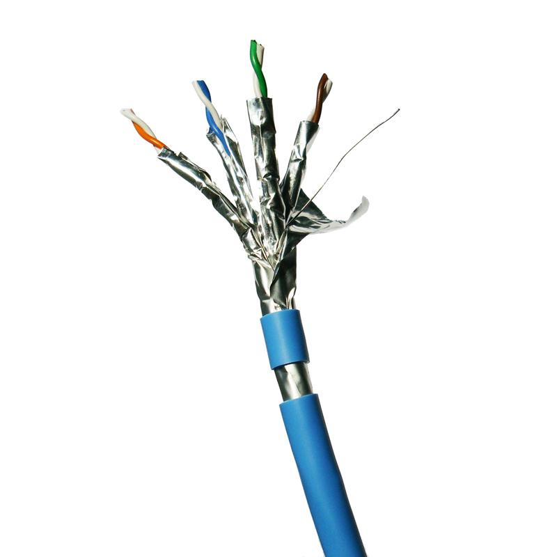 DATACOM F/FTP drát CAT6A  LSOH  300m, modrý