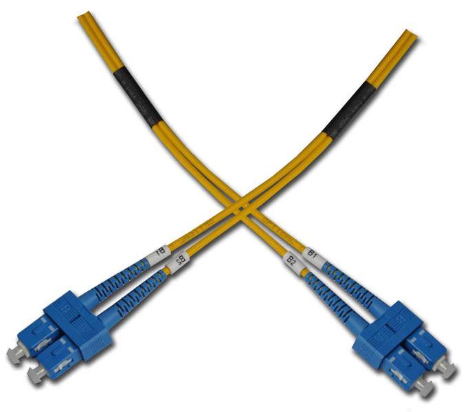Optický patchkabel duplexní, SC-SC 9/125um SM 0,5m