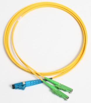 Patchcord FO duplex E2000/APC-LC 9/125um SM 15m