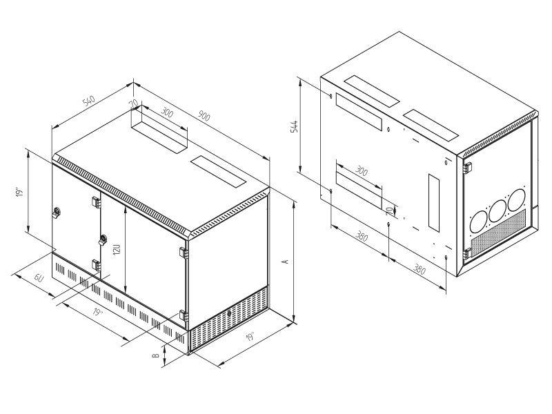 19' rozv.nást.12U/900x540mm+2U,server vpravo,černý