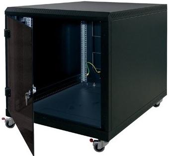 19'' kontejner.rack12U,hl.900,nosn.200kg,přední+zadní perfor.dveře, černý