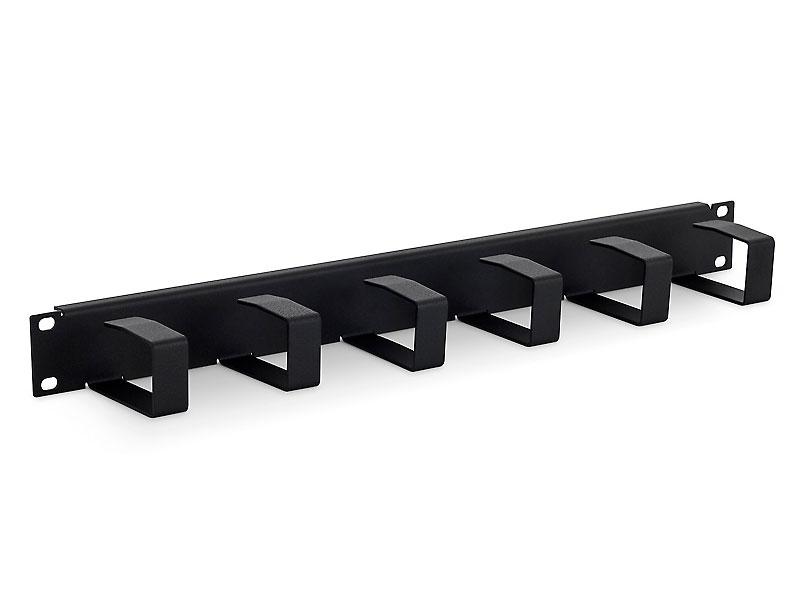 19'' vyvazovací panel 1U 6x háček 70x40mm black kov - RAB-VP-X21-A1