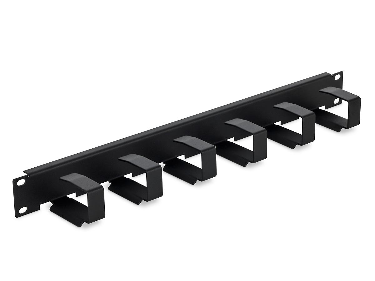 19'' vyvazovací panel 1U 6x háček 70x27mm black kov