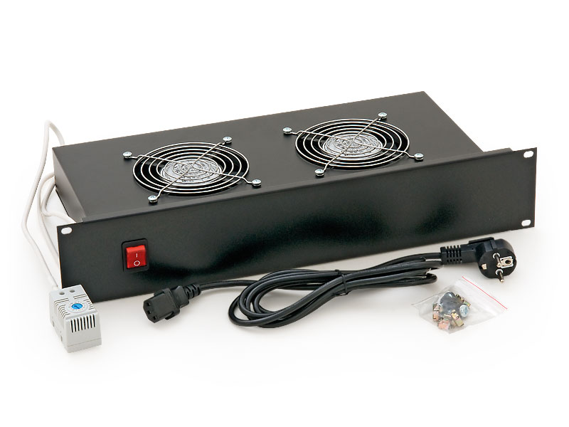 19'' horiz.vent.j.2xVent.-220V/30W termost.2U černá - RAB-CH-X01-A1