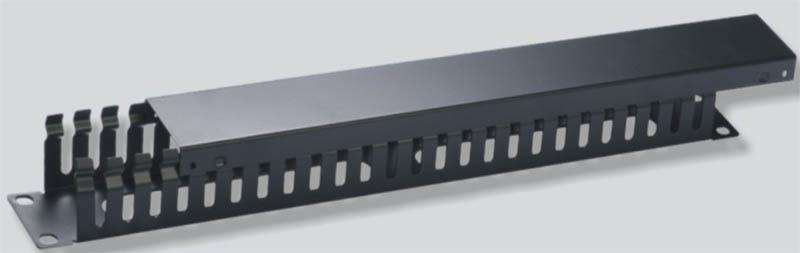 Vyvaz.panel 19''1U kov Lišta Průchozí černý 45mm hl