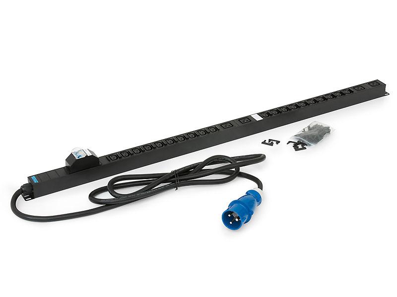 20xIEC C13 bezp.,4xIEC C19,2x16A jistič,3x6.0mm 3m kabel 32A IEC60309,RAL9005 - RAB-PD-X53-X1
