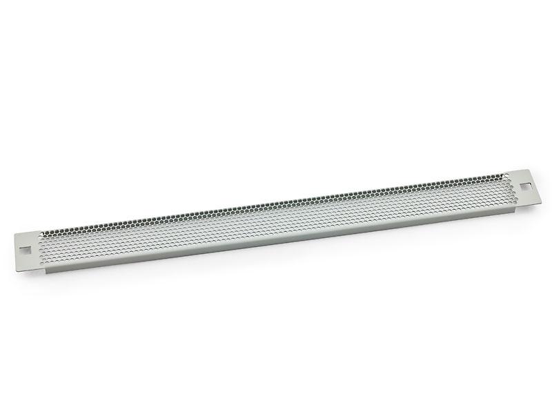 19' záslepka 1U plastový zámek, síto 75%-4mm, šedá
