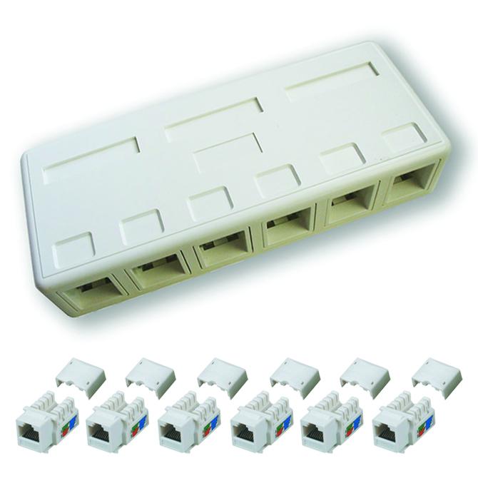 DATACOM zásuvka UTP CAT6 6xRJ45 na omítku bílá