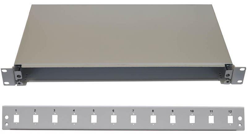 19'' Optická vana 12xSC simplex včetně kazety šedá