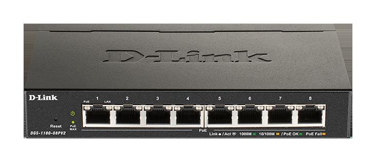 D-Link DGS-1100-08PV2 Smart Switch 8xGb PoE+fanles - DGS-1100-08PV2