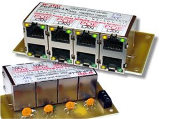 4portový napáj. panel s ochranou proti přepětí 30V/1,6A, 100Mbit