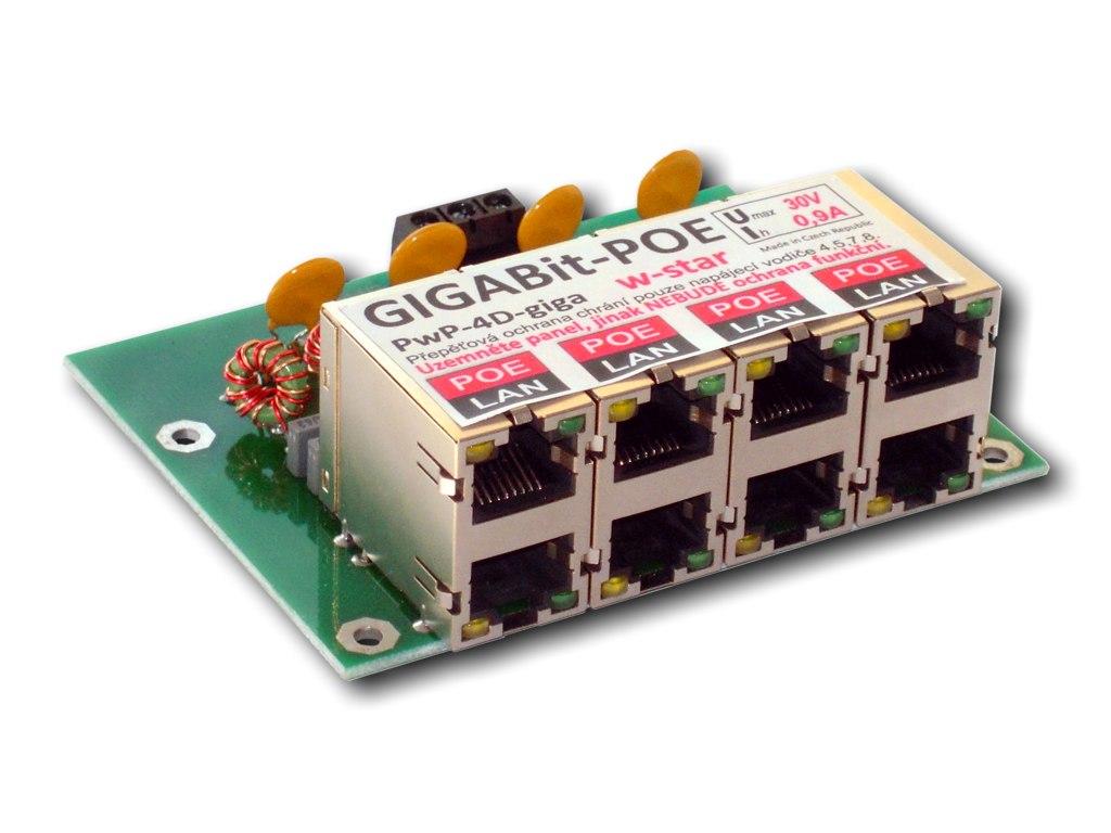 4portový napáj. panel s ochranou proti přepětí 30V, gigabit