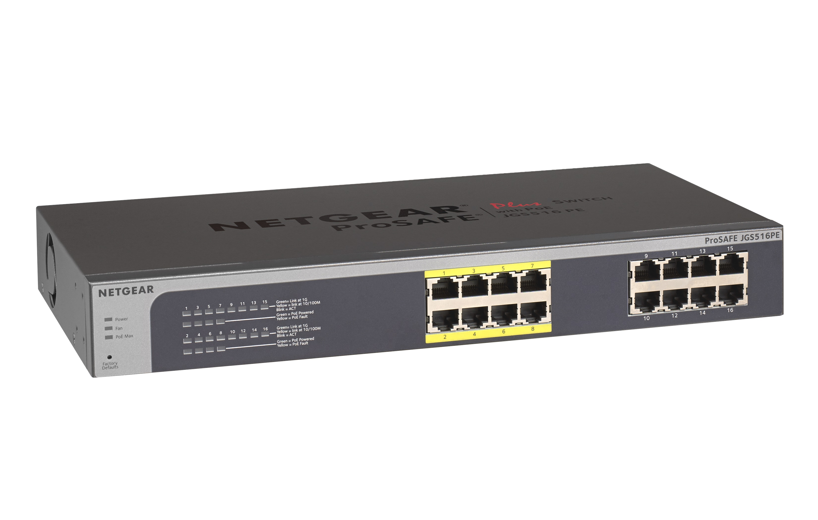 NETGEAR 16xGb/8x PoE Plus switch,85W,JGS516PE