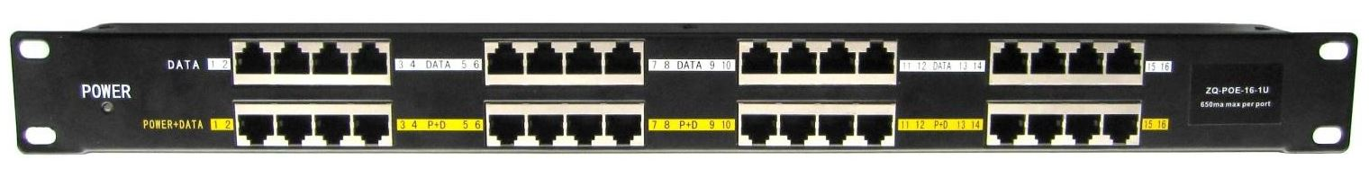 POE-PAN16ST, Stíněný 16-portový pasivní POE injektor panel