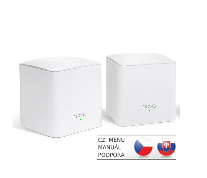 Tenda Nova MW5s (2-pack) WiFi AC1200 Mesh system Dual Band, 2x GLAN/GWAN,ostatní LAN,SMART CZ app - MW5s(2-pack)