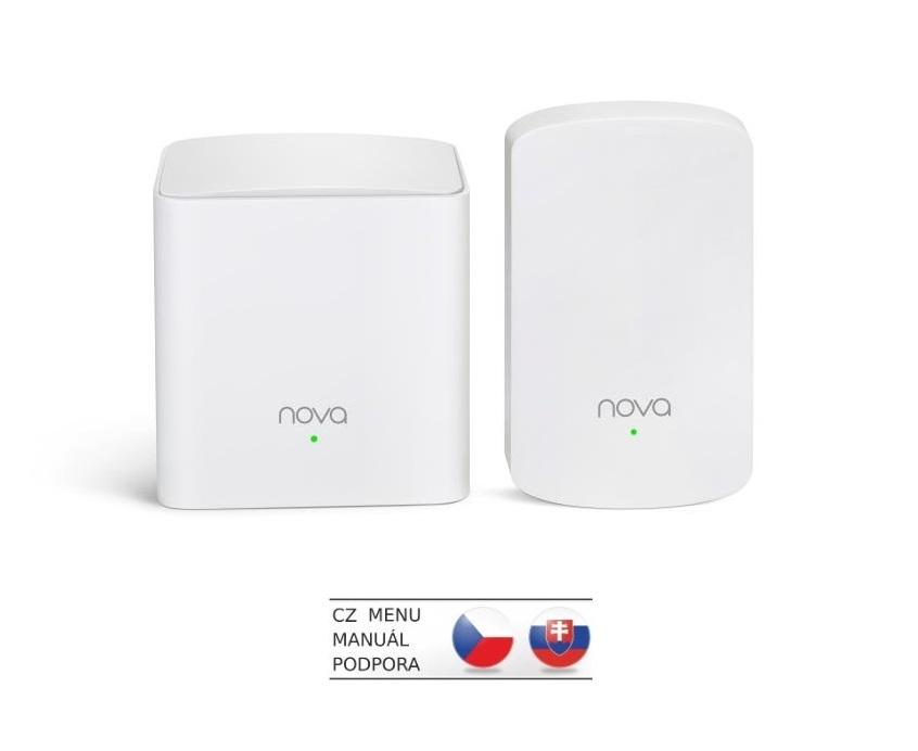 Tenda Nova MW5 (2-pack) WiFi AC1200 Mesh system Dual Band, 2x GLAN/GWAN, další 1x LAN, SMART CZ app - MW5 (2-pack)