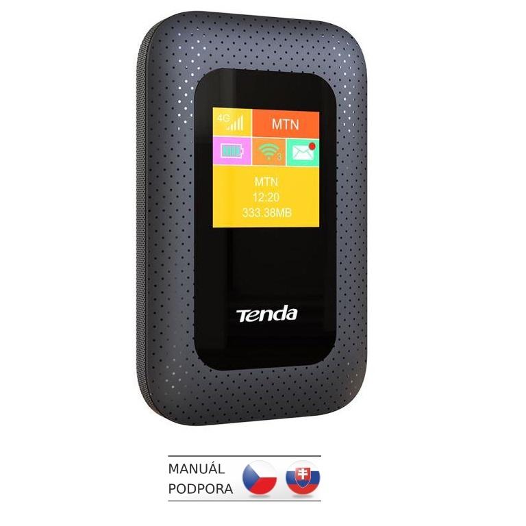 Tenda 4G185 Wi-Fi N300 mobile 4G LTE Hotspot s LCD, baterie 2100 mAh, 1x microSIM,microSD, až 10 hod - 4G185