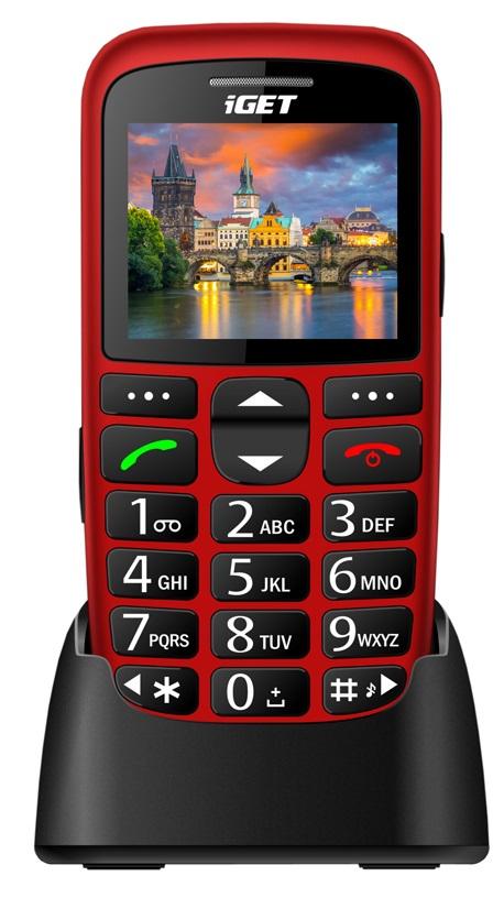 iGET SIMPLE D7 Red, seniorský, Bluetooth, FM rádio, kamera, svítilna, výdrž 15 dní,microSD, stojánek (CZ Distribuce)