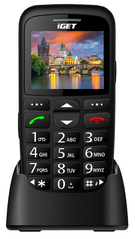 iGET SIMPLE D7 Black, seniorský, Bluetooth, FM rádio, kamera, svítilna,výdrž 15 dní,microSD,stojánek (CZ Distribuce)